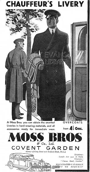 Chauffeur livery advertisement by Moss Bros